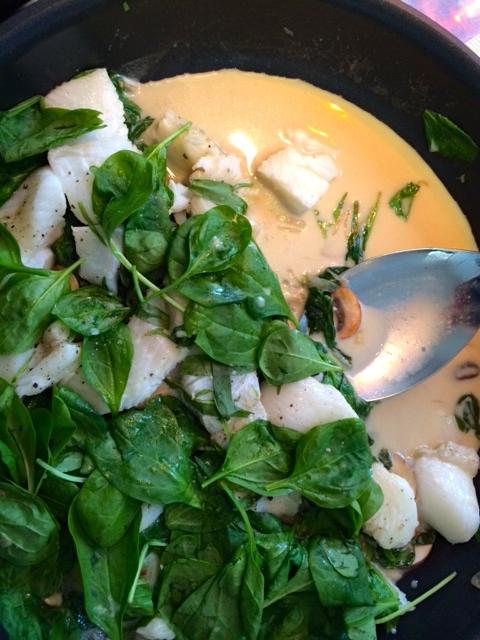 Heilbutte mit Blattspinat, Kochenkunstundketchup