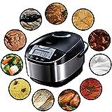 Russell Hobbs Cook@Home Multicooker 21850-56 / Praktischer Küchenhelfer mit 11 Kochprogrammen und Koch-Zubehör / Anti-Kondensations-Deckel / 5L, 900W in schwarz/silber