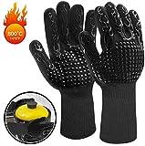 Fesoar Grillhandschuhe,Ofenhandschuhe Hitzebeständig BBQ Handschuhe Kochenhandschuhe bis zu 800°C 1 Paar Rutschfeste mit Silikon EN407 für Grill,Kochen,Backen,Schweißen (Schwarz)